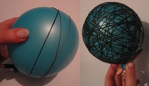 KROK II – Owijanie balonów włóczkami